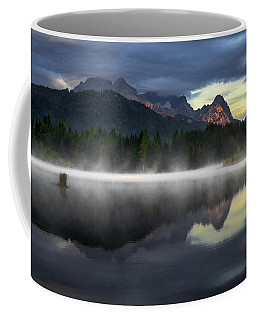 Wetterstein Mountain Reflection During Autumn Day With Morning Fog Over Geroldsee Lake, Bavarian Alps, Bavaria, Germany. Coffee Mug