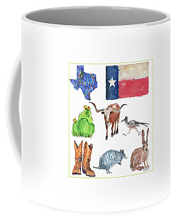 What Texas Loves, Texas Longhorn Watercolor Painting By Kmcelwaine Coffee Mug