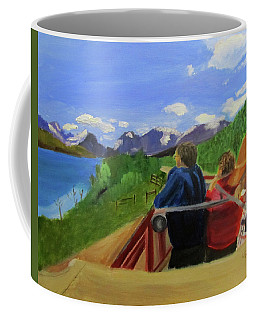 Coffee Mug featuring the painting What's Out There? by Linda Feinberg