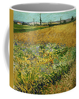 Coffee Mug featuring the painting Wheat Field With Alpilles Foothills In The Background At Wheat Fields Van Gogh Series, By Vincent  by Artistic Panda