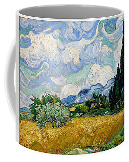 Coffee Mug featuring the painting Wheatfield With Cypresses by Van Gogh