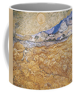 Coffee Mug featuring the painting Wheat Field With Reaper Harvest In Provence by Artistic Panda