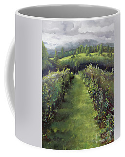 Coffee Mug featuring the painting When The Vines Rest At Otts Farms And Vineyard by Jan Dappen