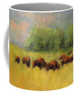 Coffee Mug featuring the painting Where The Buffalo Roam by Frances Marino