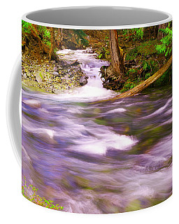 Coffee Mug featuring the photograph Where The Stream Meets The River by Jeff Swan