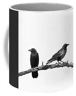 Which Way Two Black Crows On White Square Coffee Mug