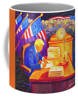 While America Sleeps - President Donald Trump Working At His Desk By Bertram Poole Coffee Mug