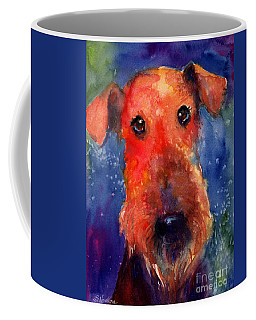 Whimsical Airedale Dog Painting Coffee Mug