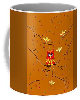 Whimsical Autumn Colors - Birds Owls Coffee Mug