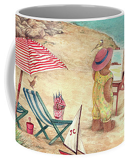 Whimsical Bear On The Beach Coffee Mug