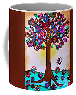 Coffee Mug featuring the painting Whimsical Blooming Tree by Pristine Cartera Turkus