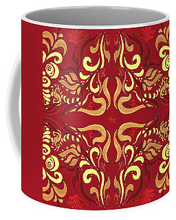 Whimsical Organic Pattern In Yellow And Red I Coffee Mug