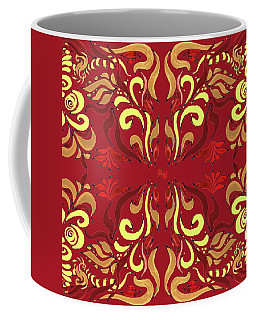 Whimsical Organic Pattern In Yellow And Red II Coffee Mug