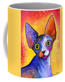 Whimsical Sphynx Cat Painting Coffee Mug by Svetlana Novikova