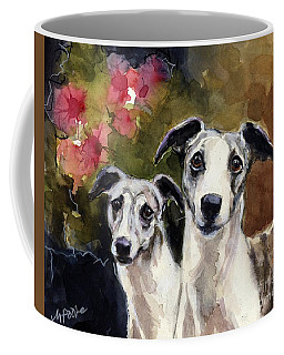 Coffee Mug featuring the painting Whippets by Molly Poole
