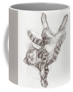 Coffee Mug featuring the drawing Yoga Cat by Judith Kunzle