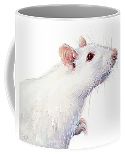 White Albino Rat Watercolor Coffee Mug
