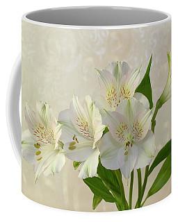 White Alstromeria Lily Flowers  Coffee Mug