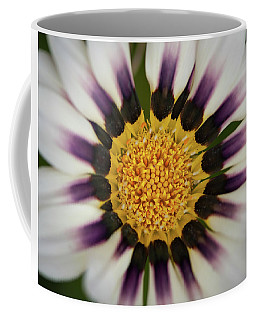 White And Purple Zinnia With Yellow Coffee Mug