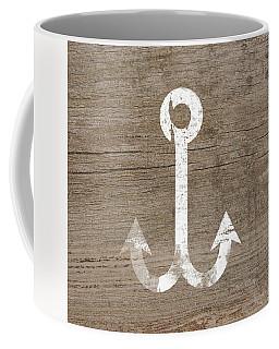 White And Wood Anchor- Art By Linda Woods Coffee Mug