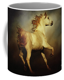 White Arabian Horse With Long Beautiful Mane Coffee Mug