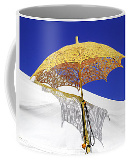 White At Base And Yellow On Blue Coffee Mug