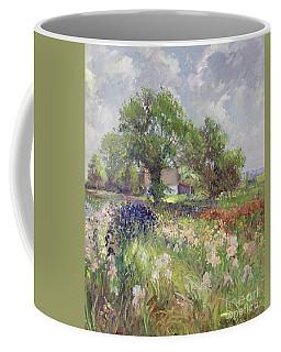 White Barn And Iris Field Coffee Mug
