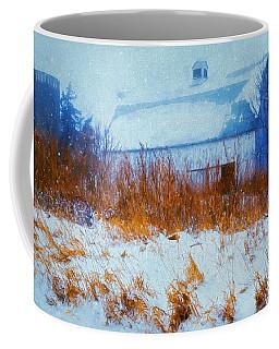 White Barn In Snowstorm Coffee Mug