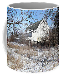 White Barn Through The Trees Coffee Mug