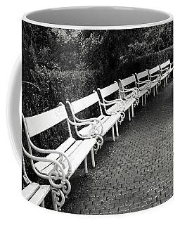 White Benches-  By Linda Wood Woods Coffee Mug