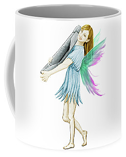 White Birch Tree Fairy Carrying Bark Coffee Mug