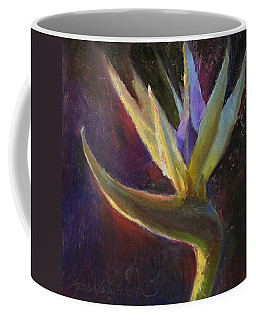Coffee Mug featuring the painting White Bird Of Paradise -tropical Flower Painting by Karen Whitworth