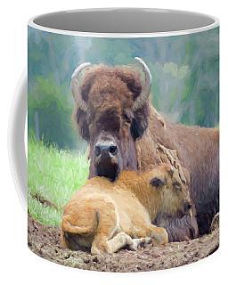 White Bison And Calf Coffee Mug
