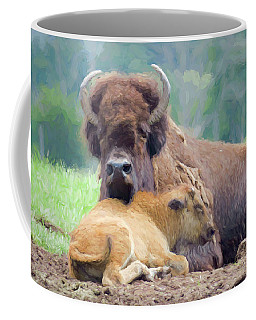 White Bison And Calf Coffee Mug