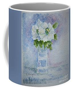 White Blooms In Blue Vase Coffee Mug