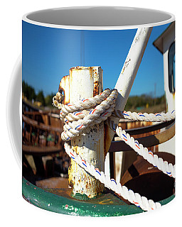 Coffee Mug featuring the photograph White Boat Rope by John Rizzuto