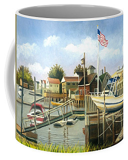 White Boat With Flags In Broad Channel Coffee Mug