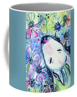 Coffee Mug featuring the painting White Bull Terrier And Butterfly by Zaira Dzhaubaeva