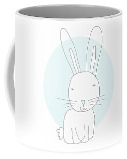 White Bunny On Blue- Art By Linda Woods Coffee Mug