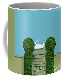 White Cat Blue Sky Coffee Mug