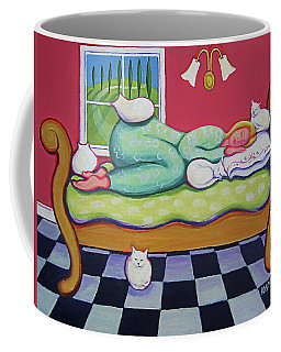 White Cats - Cat Napping Coffee Mug by Rebecca Korpita