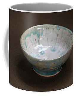 White Ceramic Bowl With Turquoise Blue Glaze Drips Coffee Mug