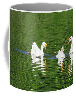 White Chinese Geese Coffee Mug by Keith Stokes