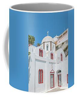 Coffee Mug featuring the photograph White Church At Fira by Antony McAulay