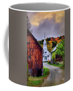 White Church In Autumn - Waits River Vermont Coffee Mug by Joann Vitali