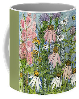 White Coneflowers In Garden Coffee Mug by Laurie Rohner