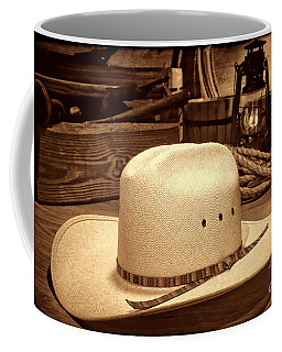 White Cowboy Hat In A Barn Coffee Mug