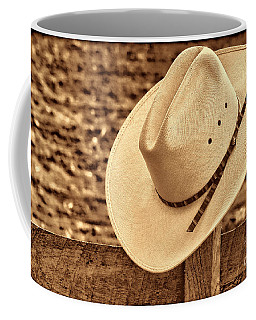 White Cowboy Hat On Fence Coffee Mug