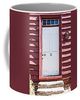 White Door And Peach Wall Coffee Mug