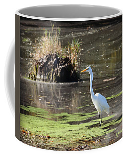 White Egret In The Shallows Coffee Mug